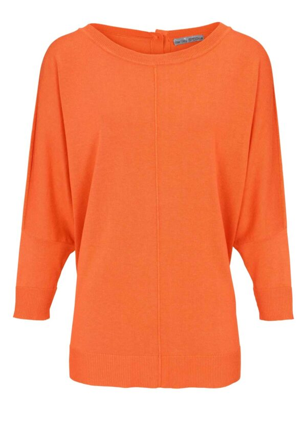 513.981 ASHLEY BROOKE Damen Designer-Oversizedpullover Orange Fledermausärmel Feinstrick