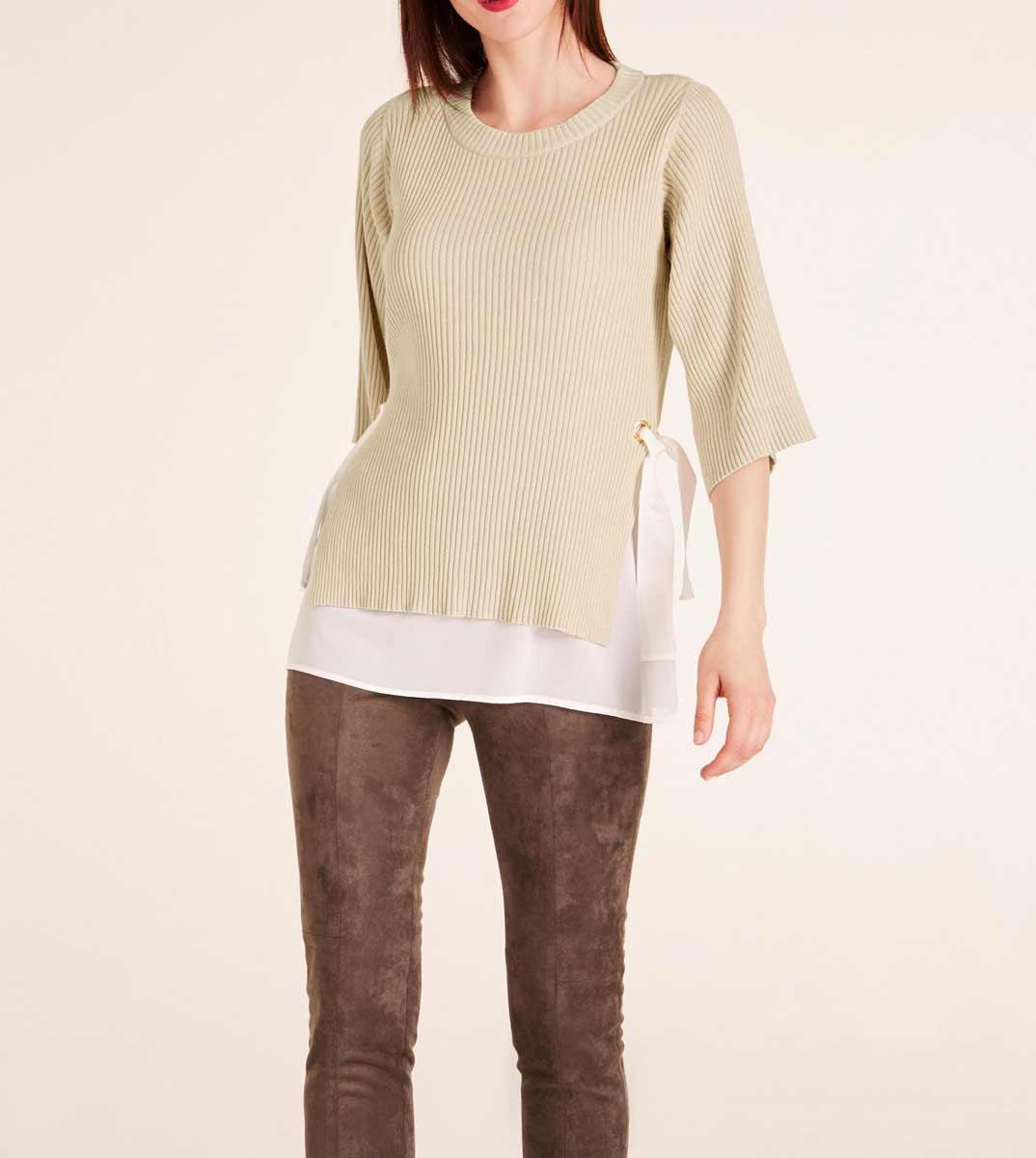 562.443 ASHLEY BROOKE Damen Designer-Pullover-2-in-1 Beige-Ecru Chiffon Top Rippenstrick