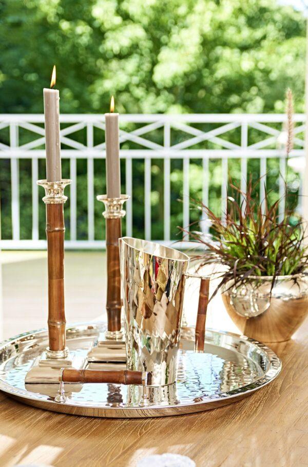 6821 Kerzenleuchter Holm mit Bambus-Schaft, Edelstahl, Höhe 36 cm