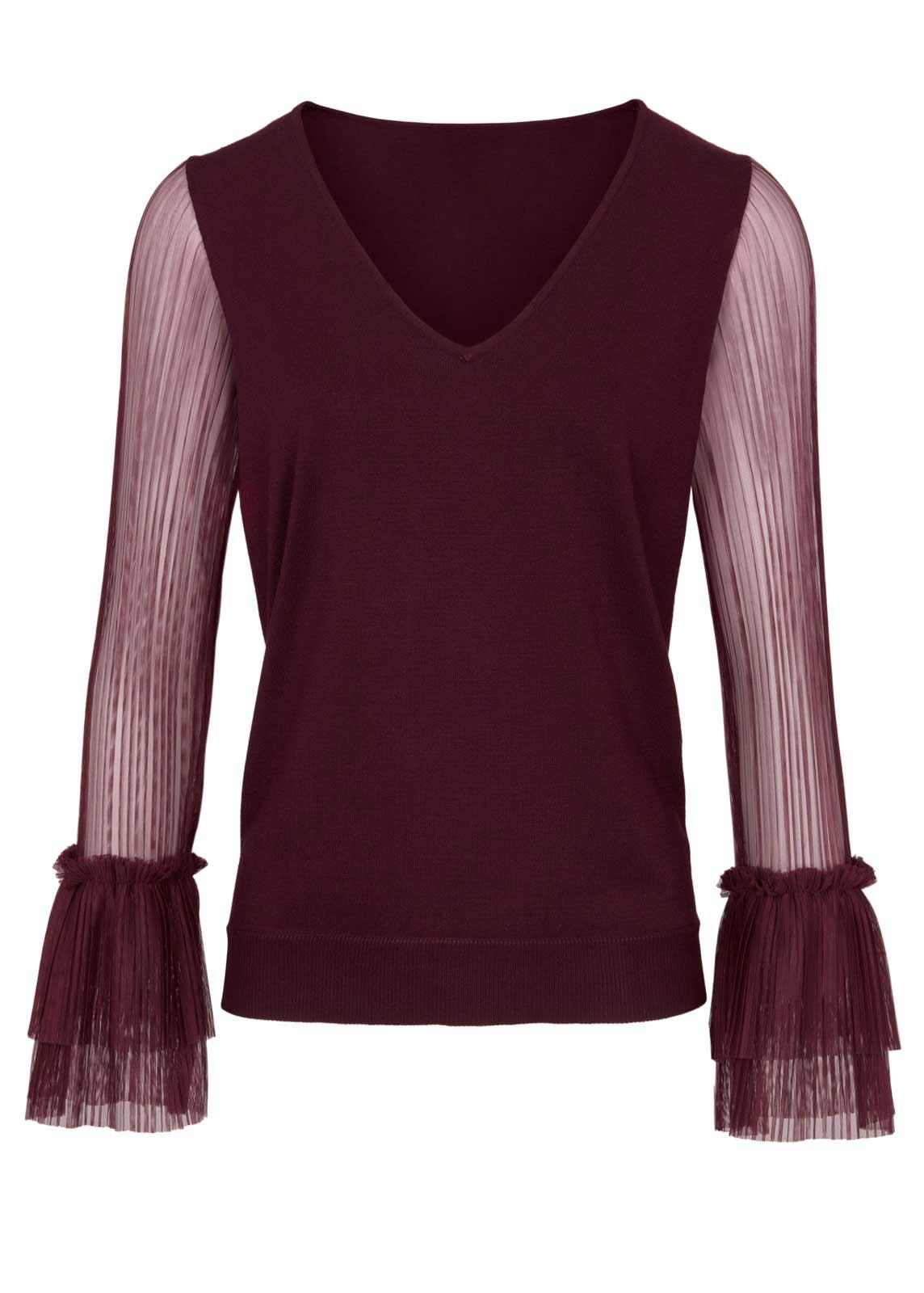 700.886 ASHLEY BROOKE Damen Designer-Pullover m. Plisseeärmeln Bordeaux