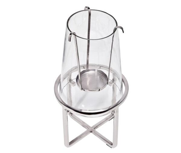 7083 Edzard Windlicht für 1 Kerze Kerzenhalter Moll Edelstahl Glas Deko Silber 30 cm