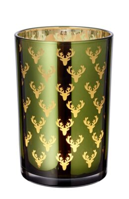7177 Windlicht Dirk grün gold H 18 cm