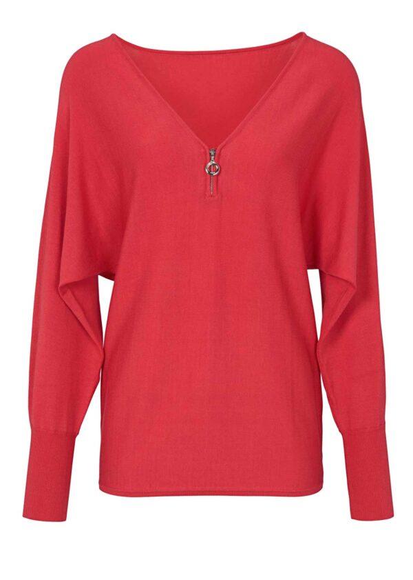 734.975a ASHLEY BROOKE Damen Designer-Feinstrickpullover Rot Casual Look NEU