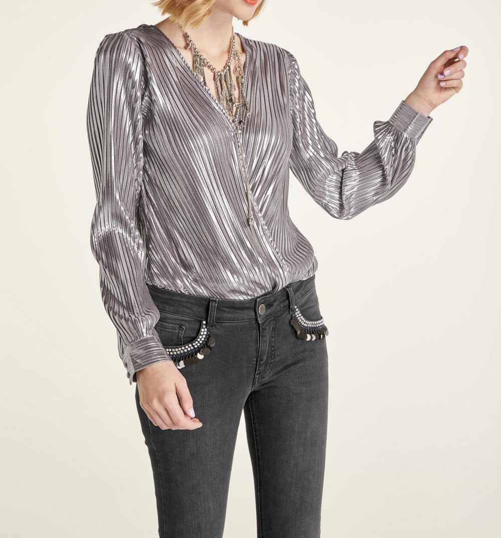 757.523 HEINE Damen Designer-Blusenbody Metallic-Look Silberfarben