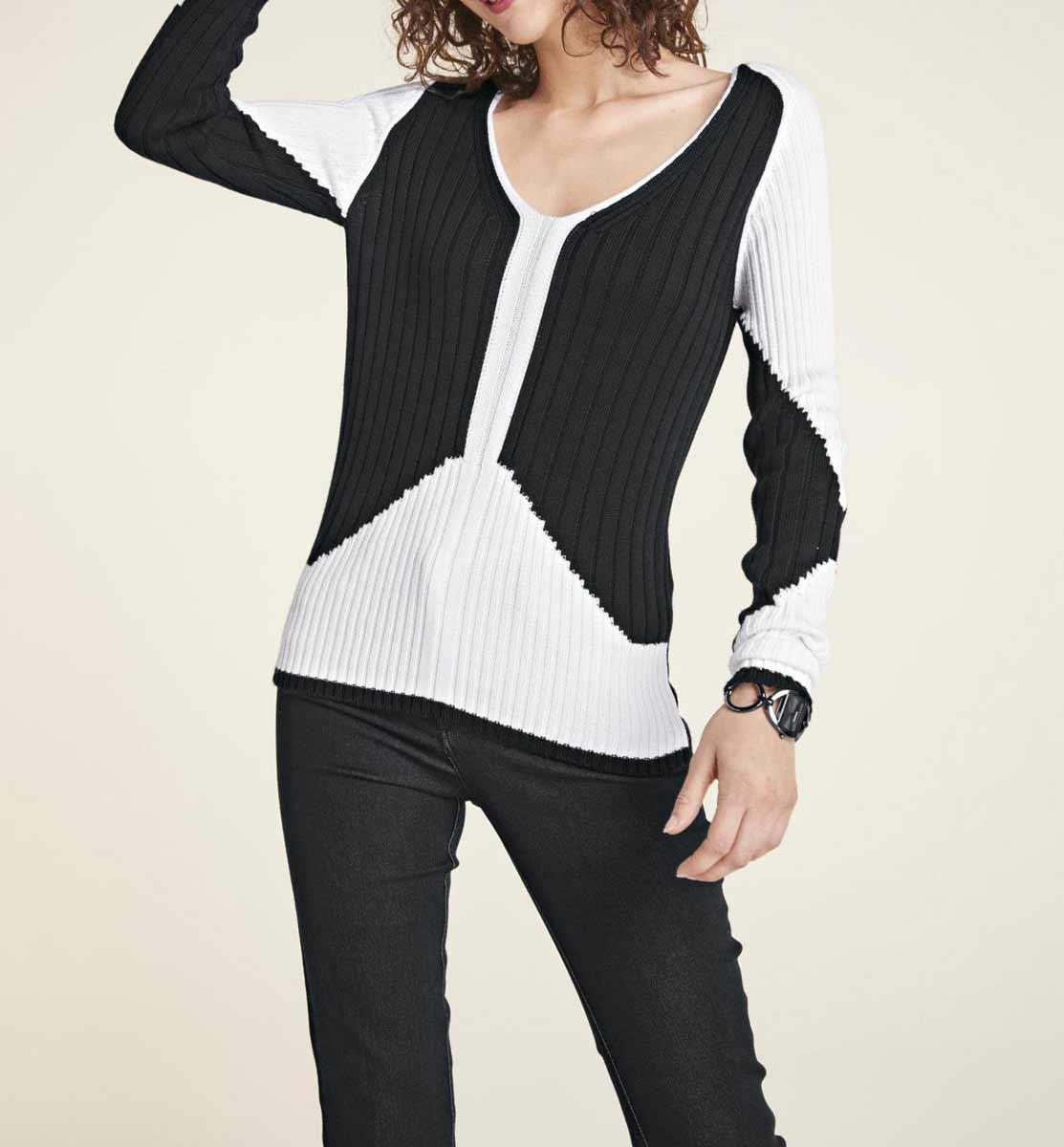 786.872 ASHLEY BROOKE Damen Designer-Rippenstrickpullover Schwarz-Weiß