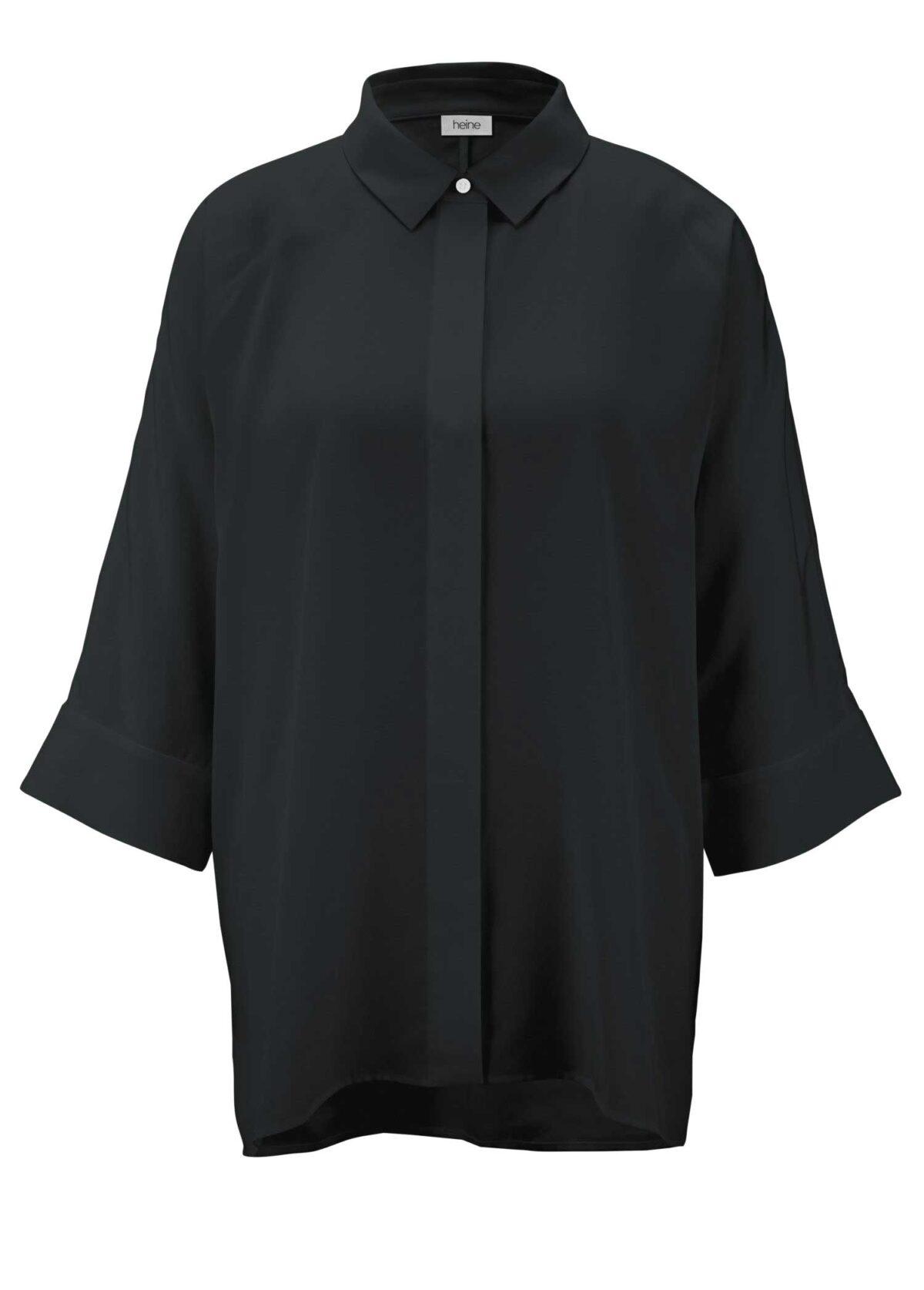 796.042 HEINE Damen Designer-Oversized-Bluse Schwarz