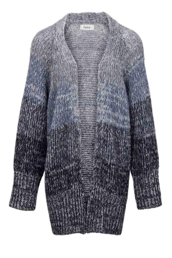 825.041 HEINE Damen Designer-Grobstrickmantel Grau-Blau