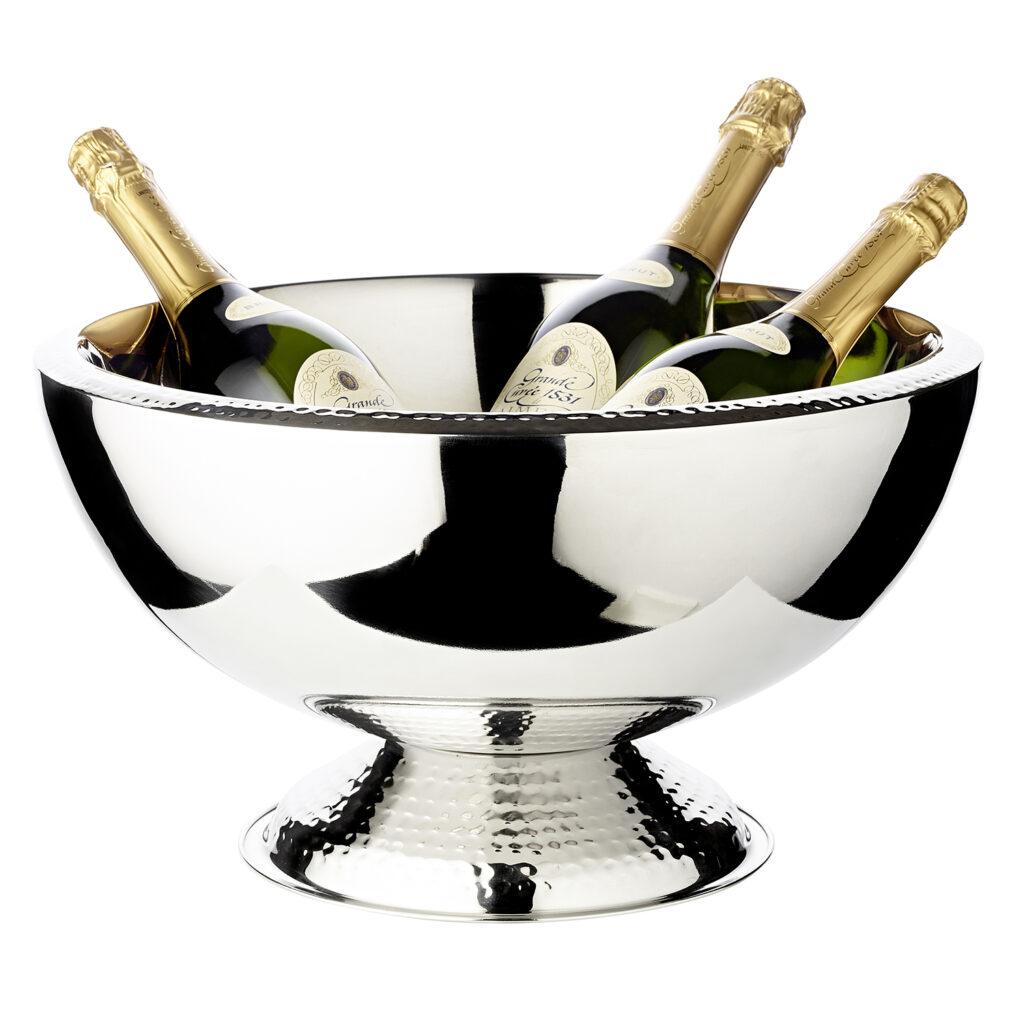 8941 Champagnerkühler Till, doppelwandig, Edelstahl hochglanzpoliert, Rand und Fuß gehämmert, ř 43 cm