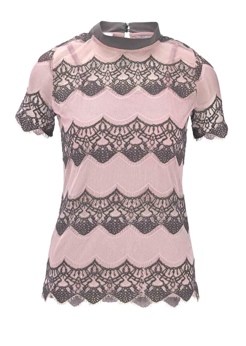 967.710 HEINE Damen Designer-Spitzenshirt + Top Rosé-Anthrazit