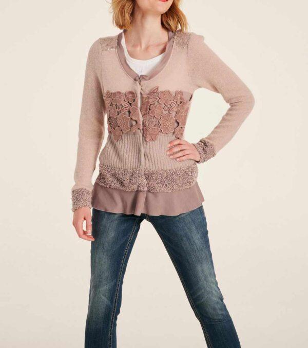 972.690 LINEA TESINI Damen Designer-Strickjacke Rosé