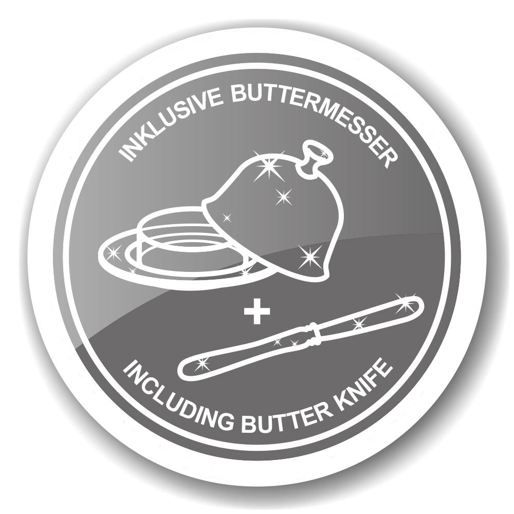 2443 EDZARD Butterglocke Butterfly, mit Glasschale und Deckel, edel versilbert, ř 14 cm,mit Butterme