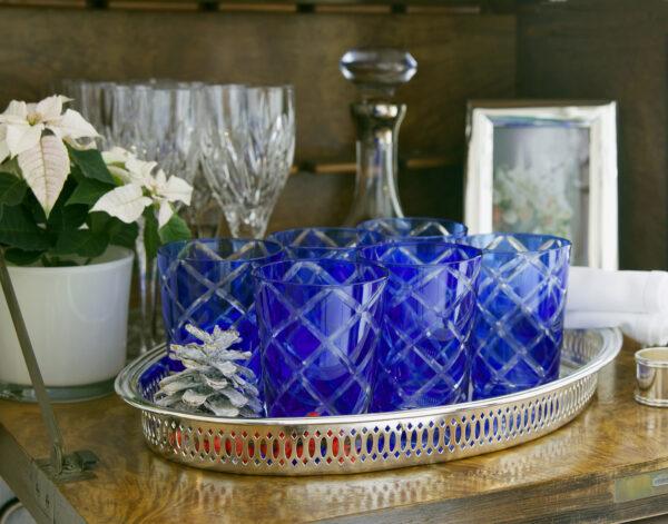 8023 6er Set Kristallgläser Dio, blau, handgeschliffenes Glas , Höhe 10 cm, Füllmenge 0,23 Liter