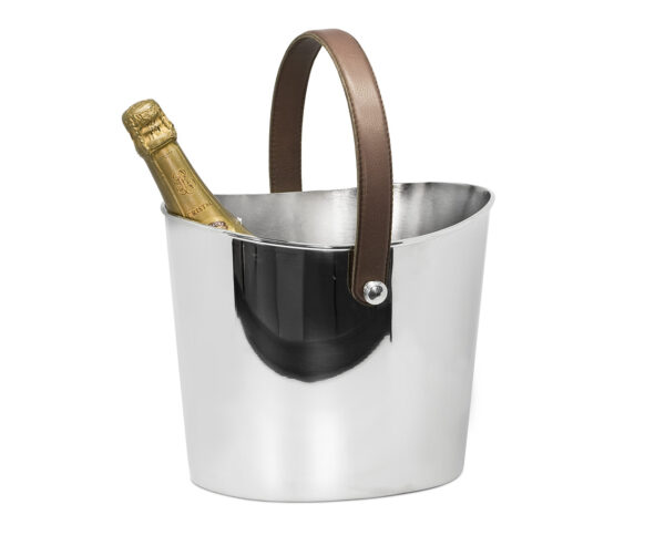 8452 Eiseimer Gilbert Weinkühler mit braunem Ledergriff, Edelstahl glänzend vernickelt, Höhe 23 cm