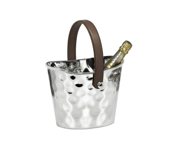 8456 Eiseimer Weinkühler Gilbert gehämmert, mit braunem Ledergriff, Edelstahl glänzend vernickelt,H 17 cm
