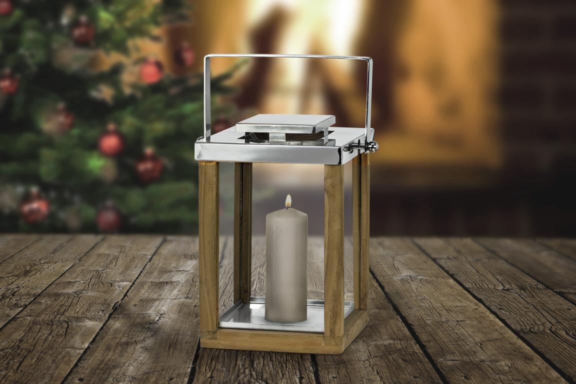 7443 Edzard Laterne Windlicht Groß Miami m. Griff Holz Glas Edelstahl Glänzend 36 cm