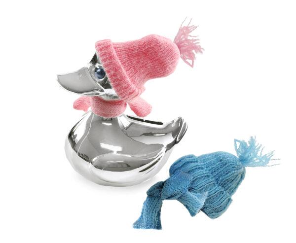 1069 Spardose Ente Höhe 13 cm, mit Schal & Mütze in rosa und hellblau