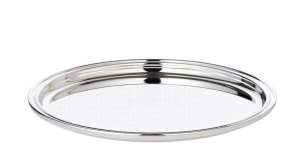 1412 Edzard Tablett Serviertablett Pipe, rund, edel versilbert, 22 cm