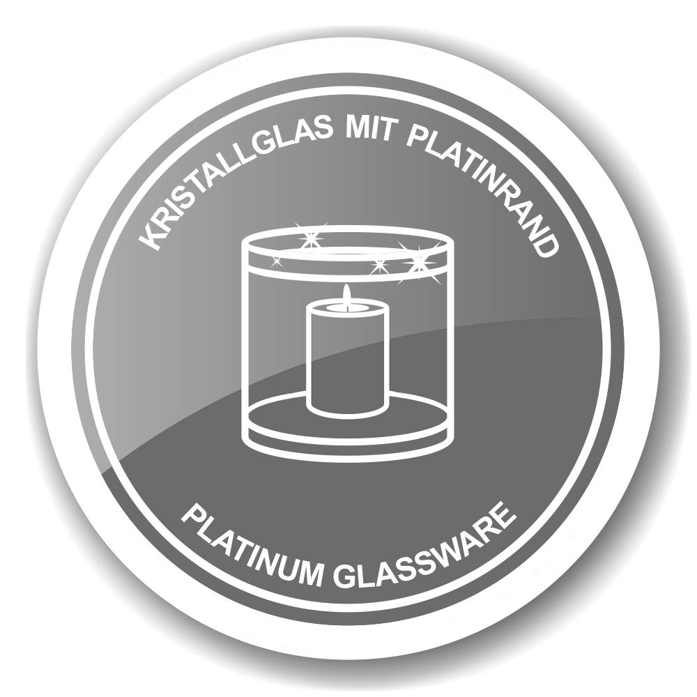 3301 Edzard Kerzen Windlicht Kerzenhalter Molly Kristall Glas Platinrand Silber 15 cm