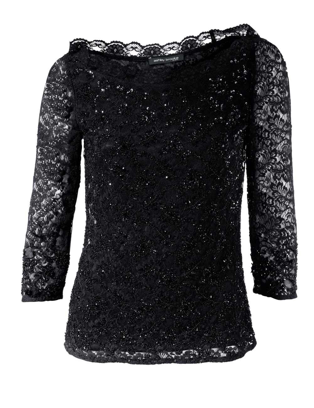 008.616 ASHLEY BROOKE Damen Designer-Spitzenshirt m. Pailletten Schwarz