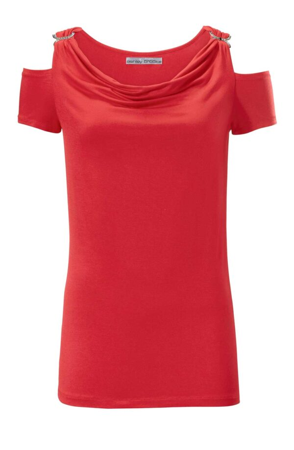 008.641 ASHLEY BROOKE Damen Designer-Wasserfallshirt m. Strass Rot