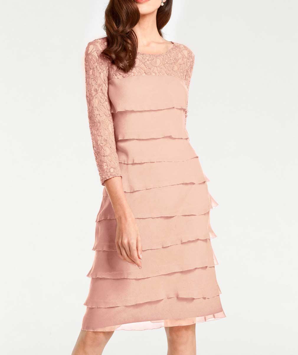 008.809 ASHLEY BROOKE Damen Designer-Spitzen-Chiffonkleid Rosé