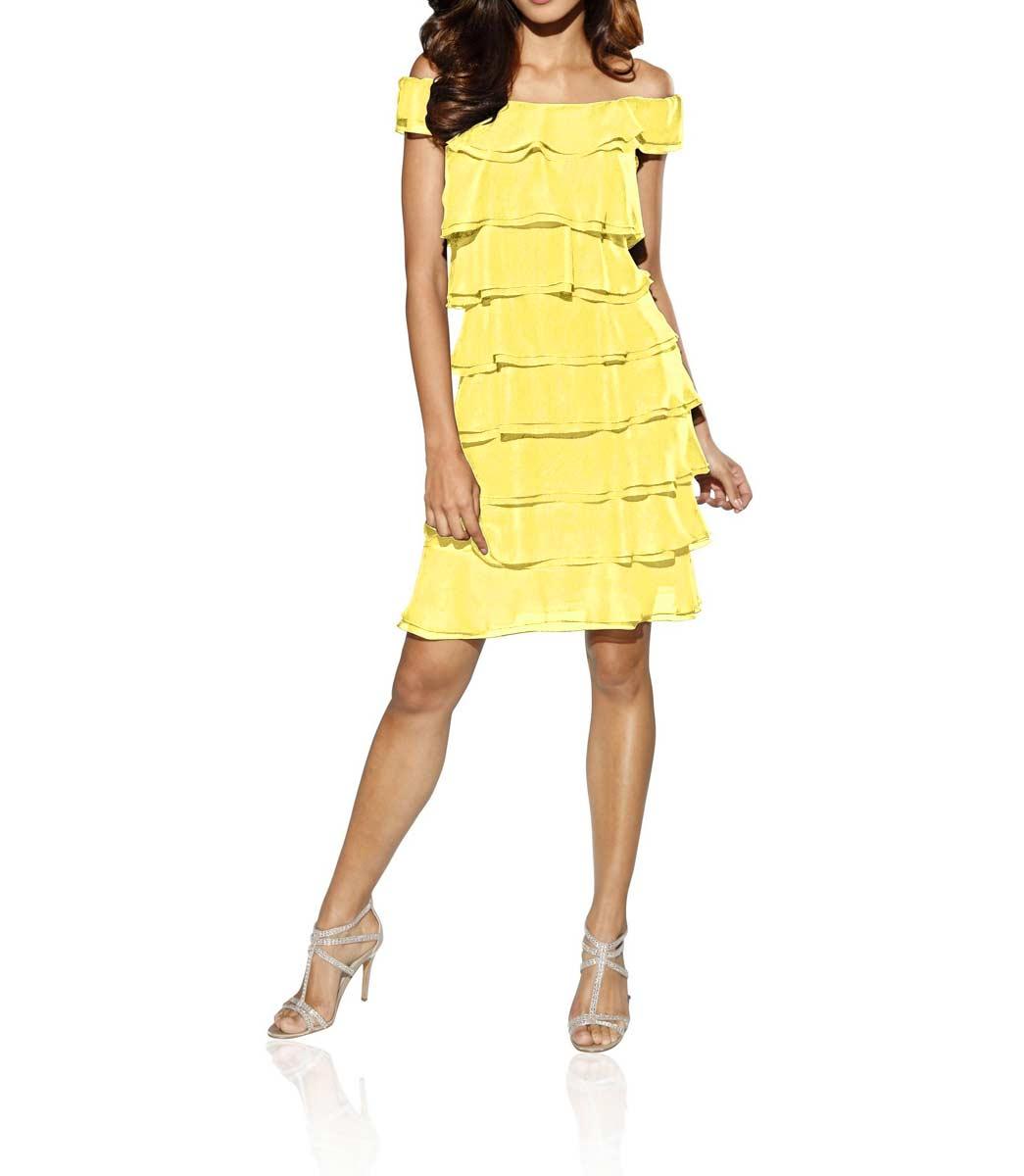 035.717 ASHLEY BROOKE Damen Designer-Volantkleid Gelb
