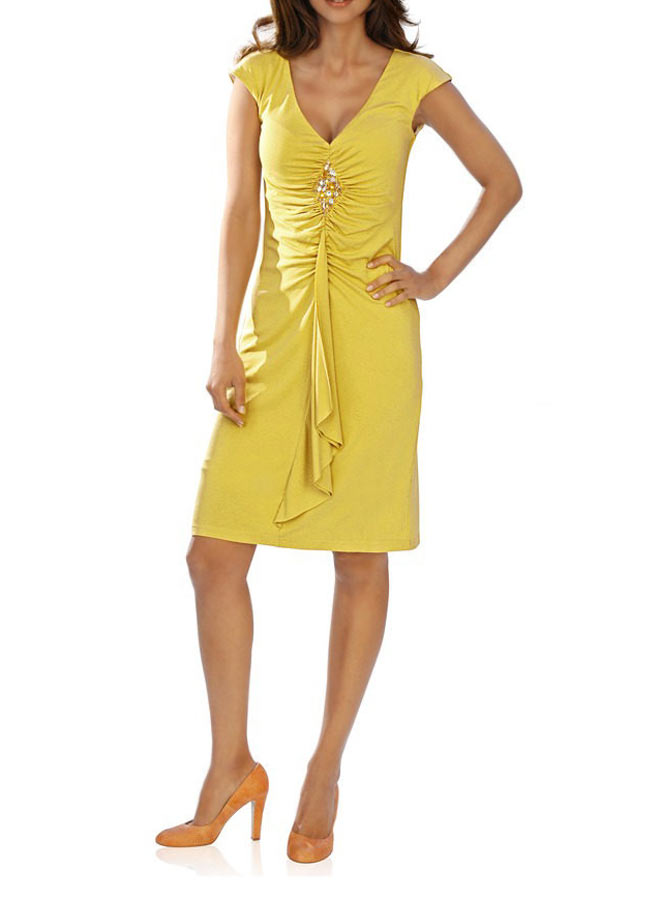 036.948a ASHLEY BROOKE Damen Designer-Kleid Abendkleid Edel Elegant m. Strass Gelb