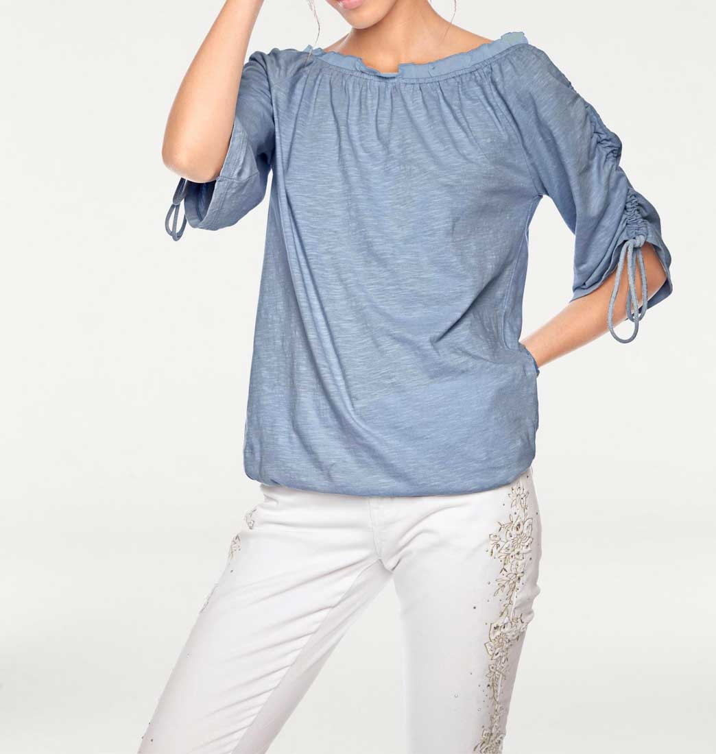 047.726 LINEA TESINI Damen Designer-Shirt Blau