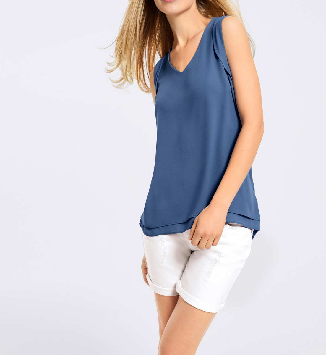 053.849 HEINE Damen Designer-Chiffon-Jersey-Blusenshirt Jeansblau