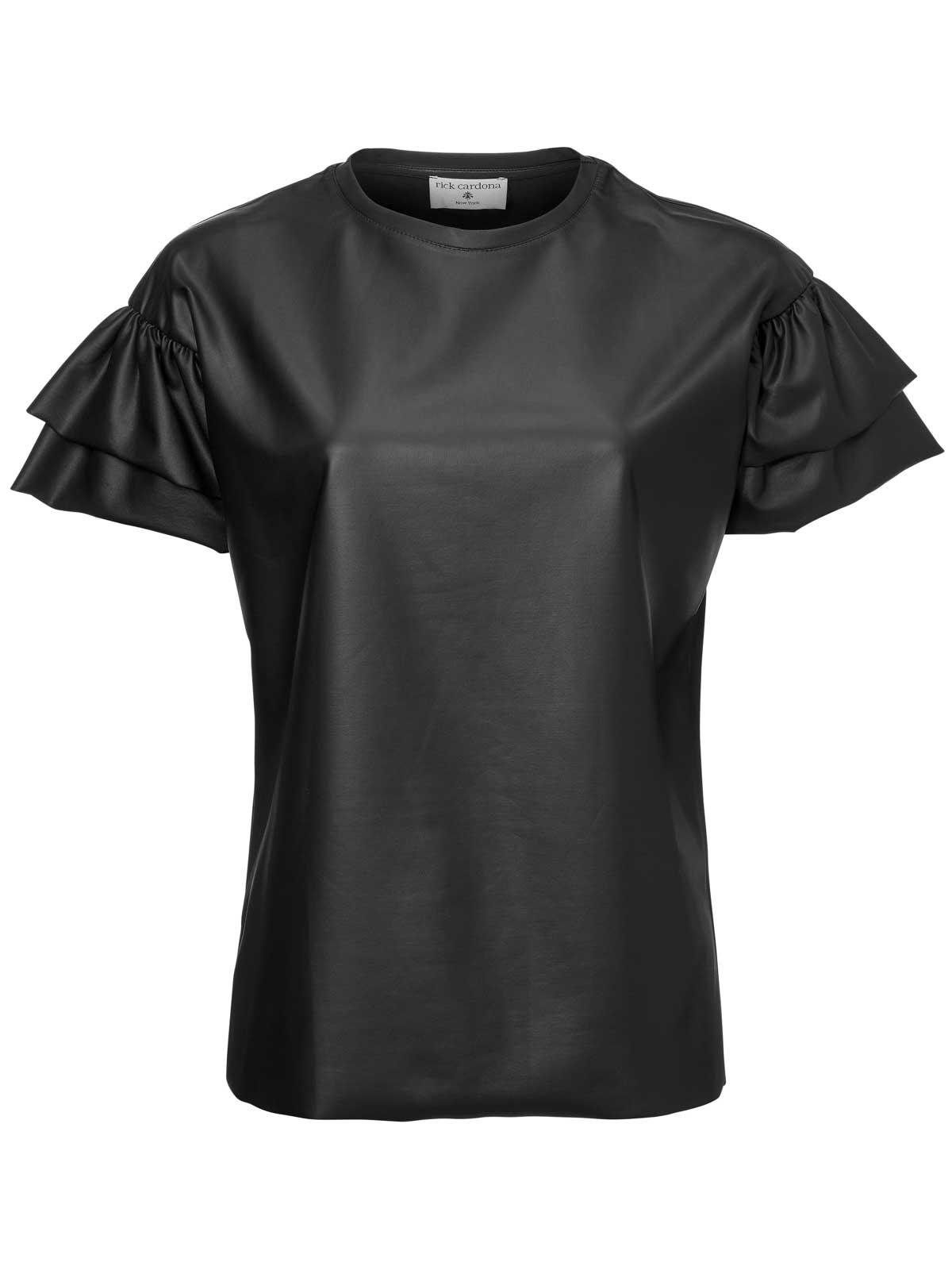054.085 RICK CARDONA Damen Designer-Lederimitat-Shirt Schwarz