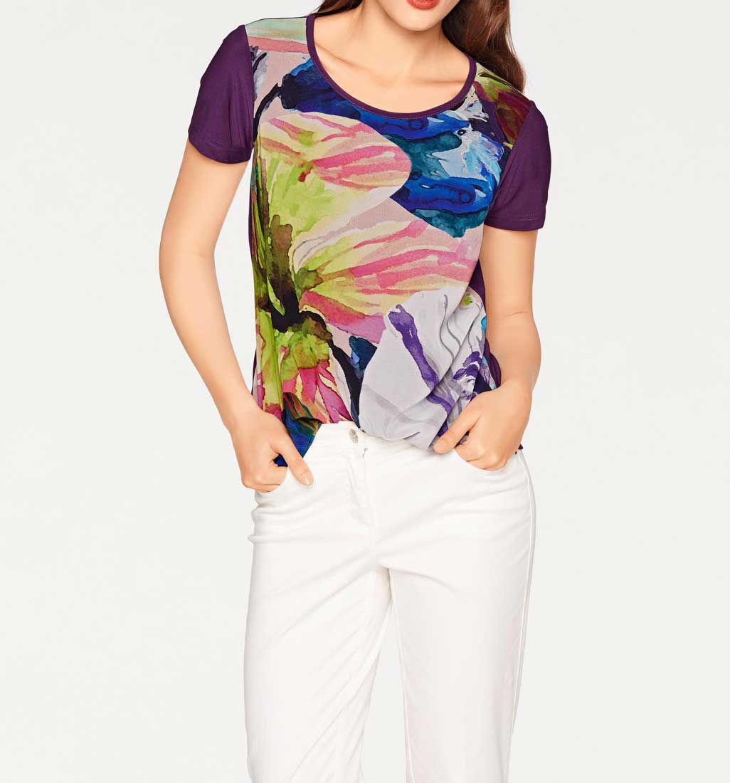 055.369a Blusenshirt, lila-bunt von Ashley Brooke Grösse 34