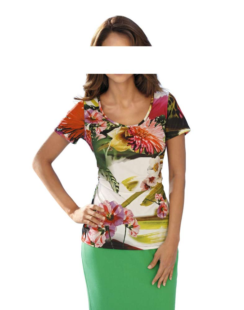 060.099 ASHLEY BROOKE Damen Designer-Druckshirt Bunt
