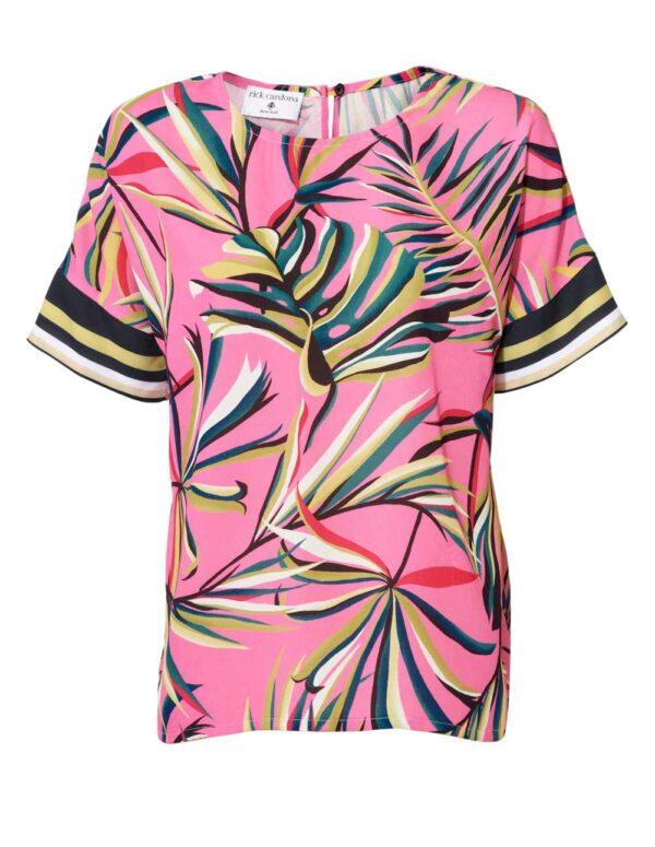 061.195 RICK CARDONA Damen Designer-Druckbluse Pink-Bunt
