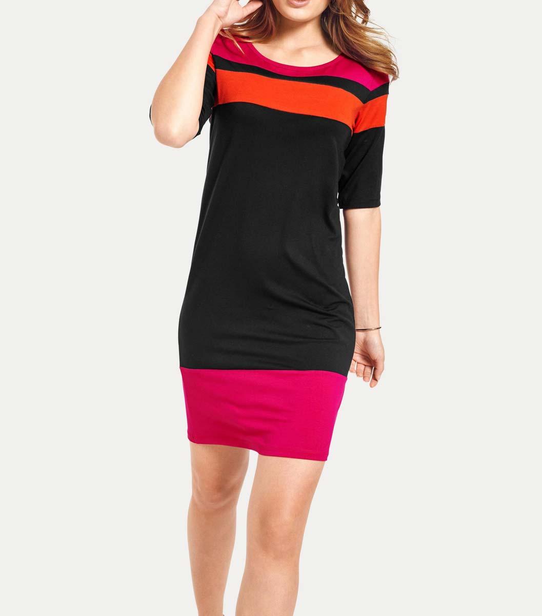 084.995 HEINE Damen Designerkleid Jerseykleid Shirtkleid Pink-Orange-schwarz Gestreift