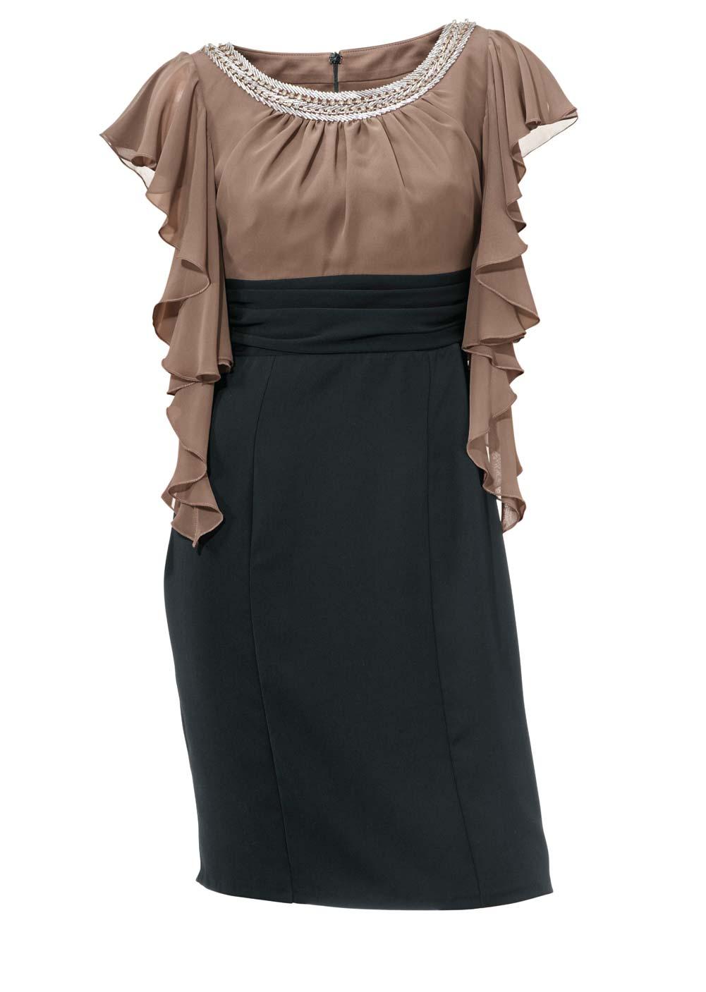 091.636 ASHLEY BROOKE Damen Designer-Cocktailkleid Taupe-Schwarz