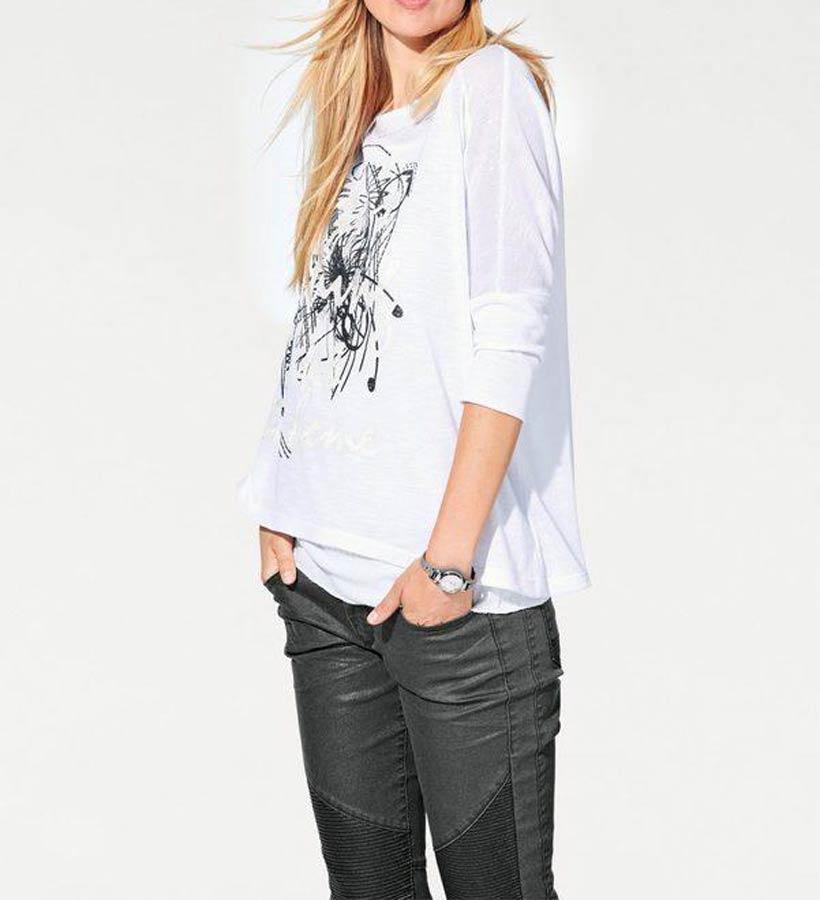 093.709 HEINE Damen Designer-Shirt + Top Weiß