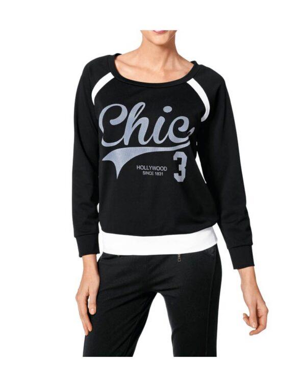 122.535 HEINE Damen Designer-Sweatshirt Schwarz-Grau
