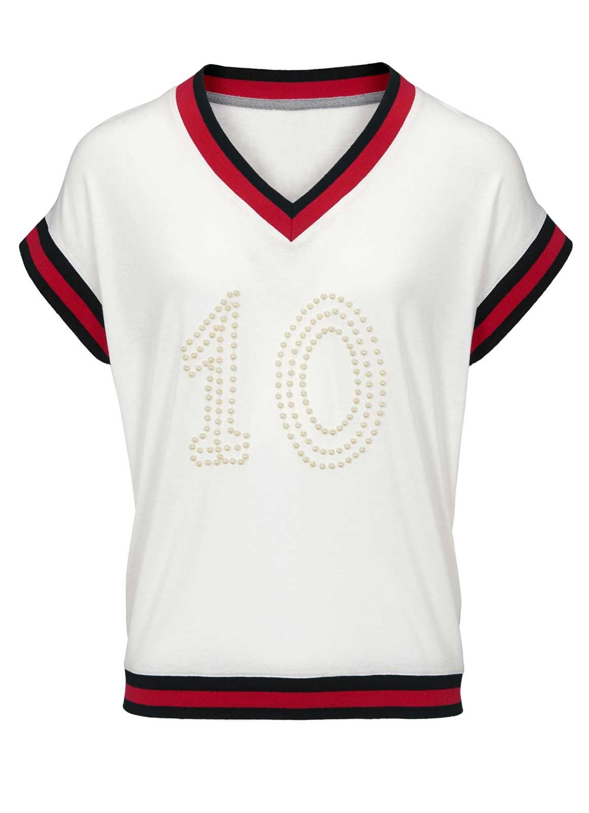 129.981a Heine Damen Jersey Shirt T-Shirt Oberteil Kurzarm Stickerei Perlen