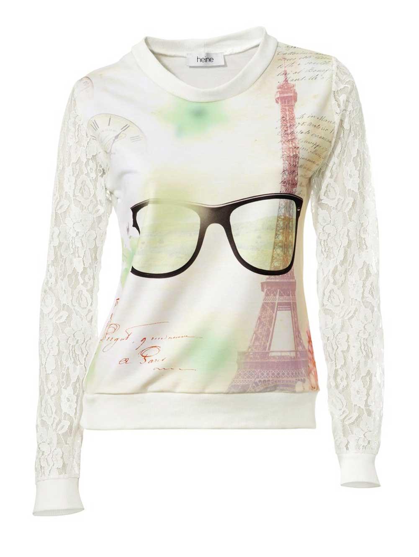136.201 HEINE Damen Designer-Sweatshirt m. Spitzenärmeln Creme-Bunt