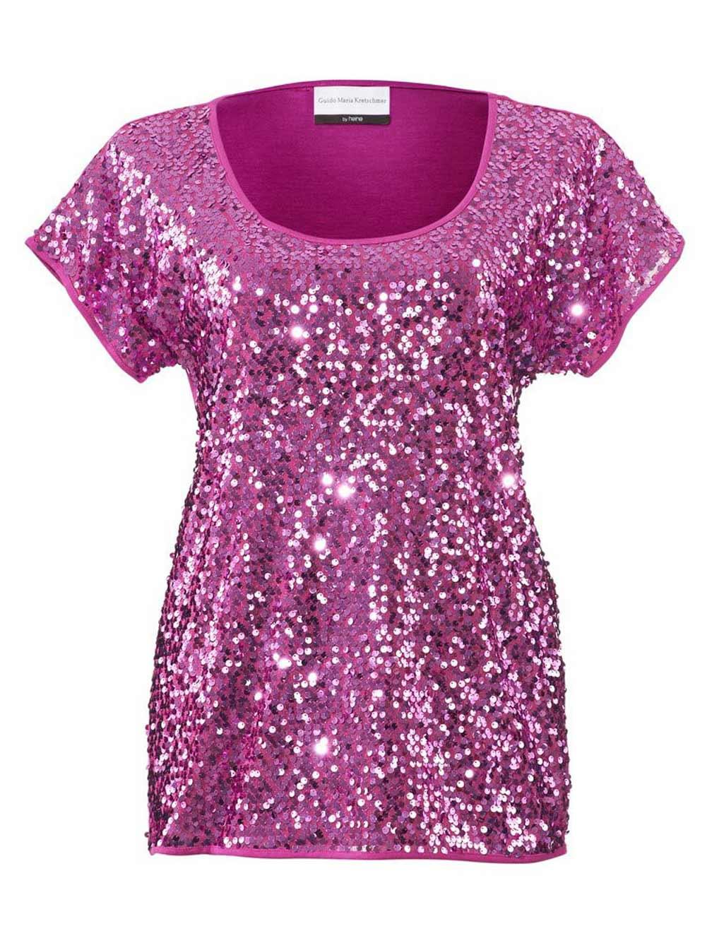 147.269 GUIDO MARIA KRETSCHMER Damen Designer-Paillettenshirt Pink