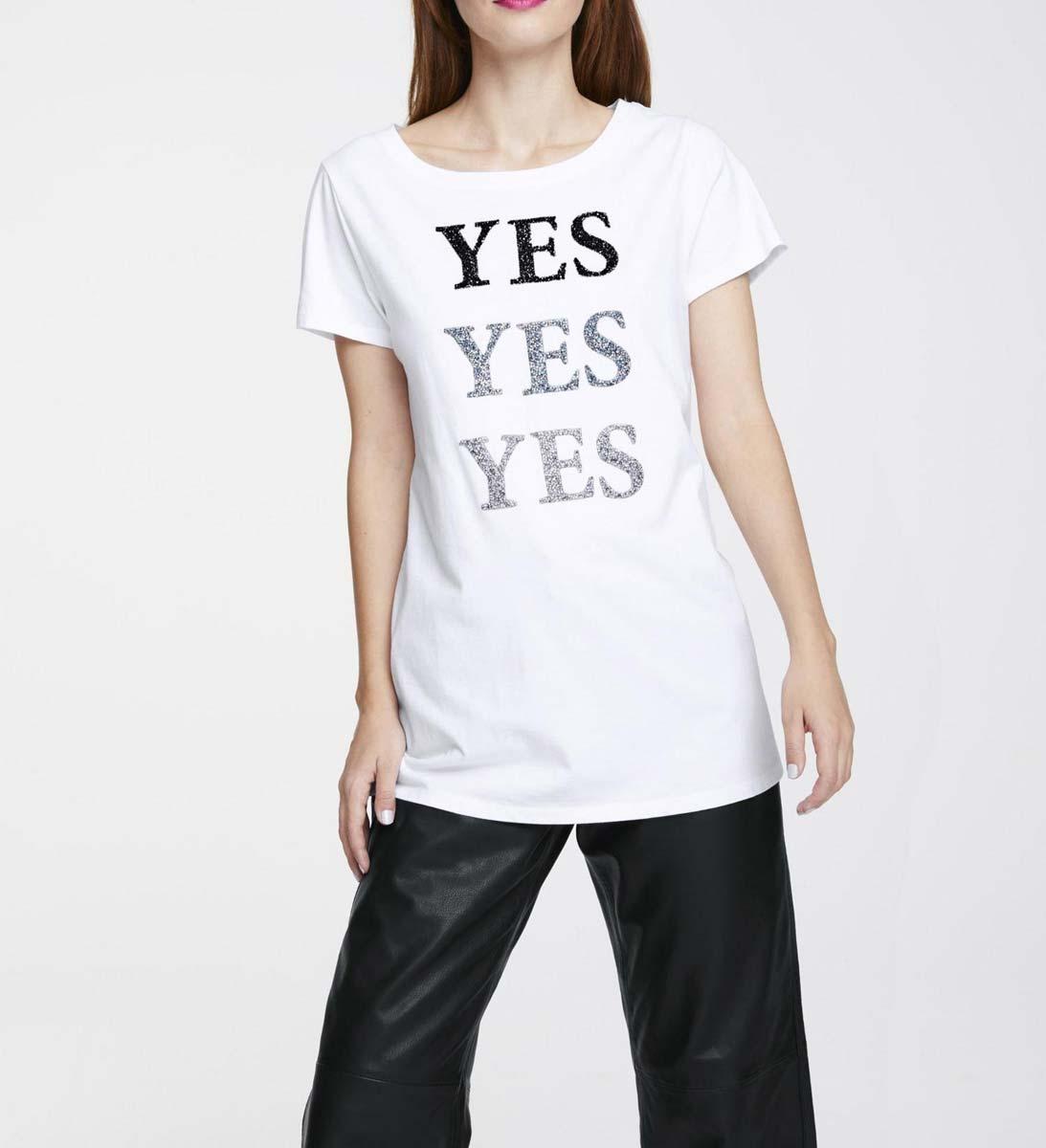 201.031 HEINE Damen Designer-Jerseyshirt m. Strass Weiß