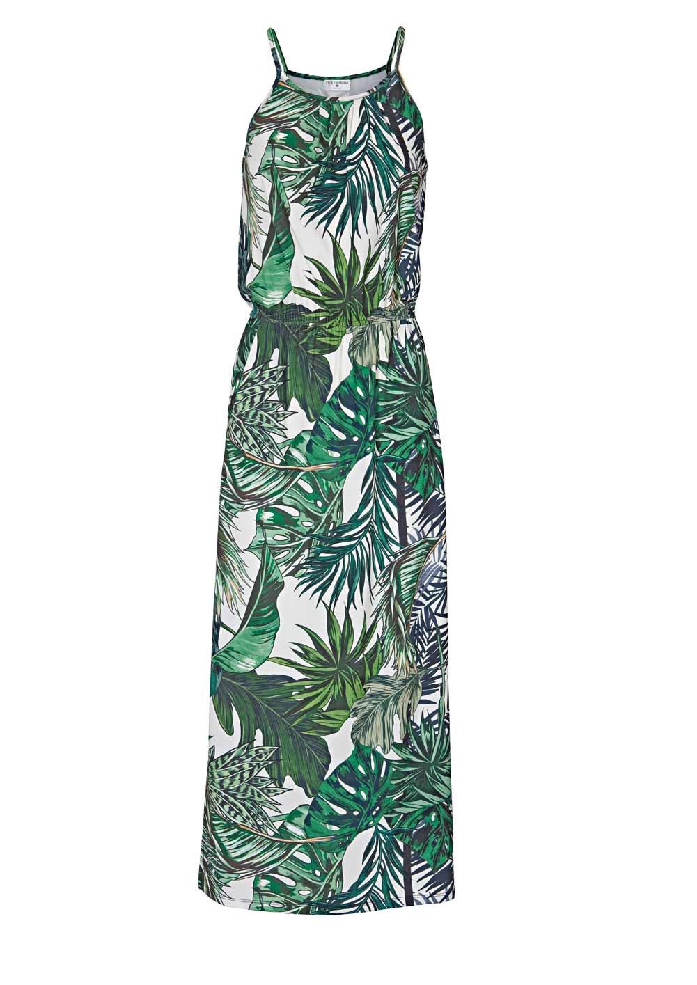 219.561 RICK CARDONA Damen Designer-Jersey-Maxikleid Weiß-Grün