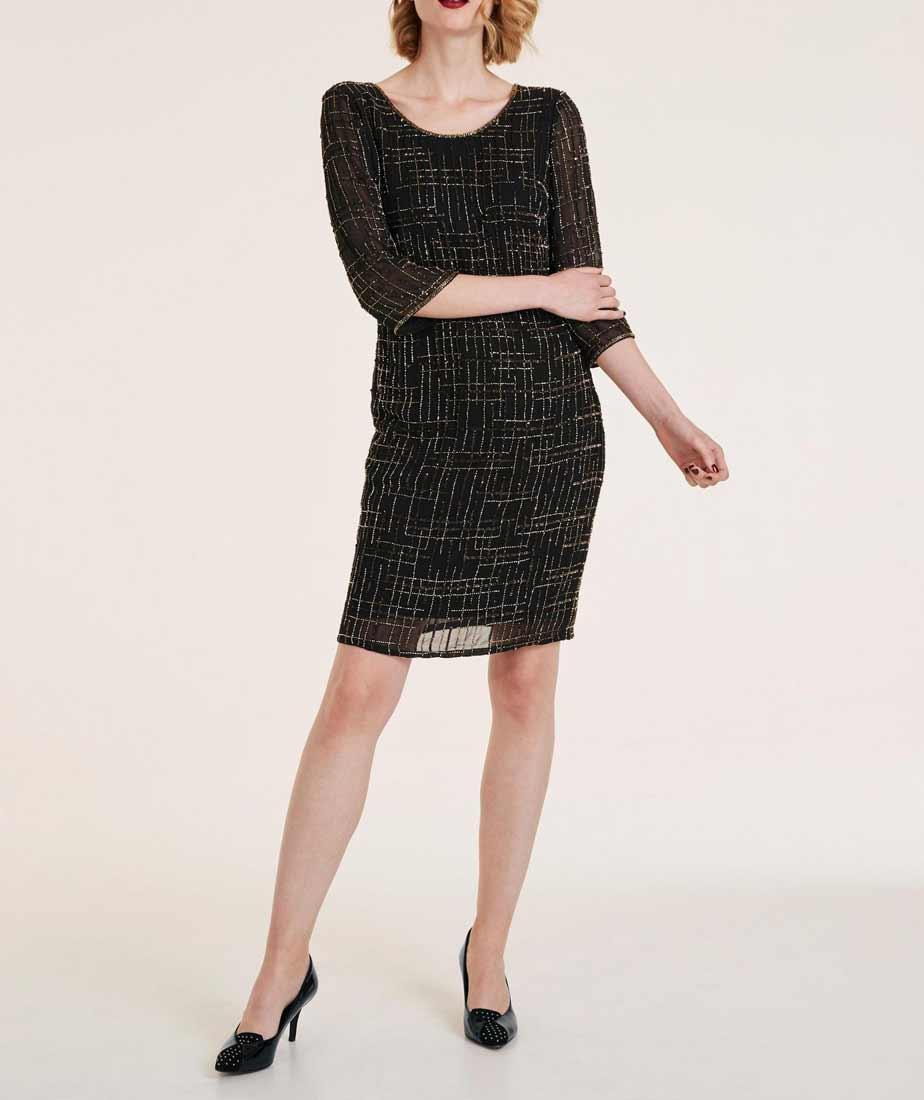239.059 ASHLEY BROOKE Damen Designer-Cocktailkleid m. Perlen Schwarz