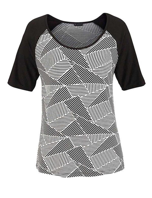 245.015 LAURA SCOTT Damen-Shirt Schwarz-Weiß