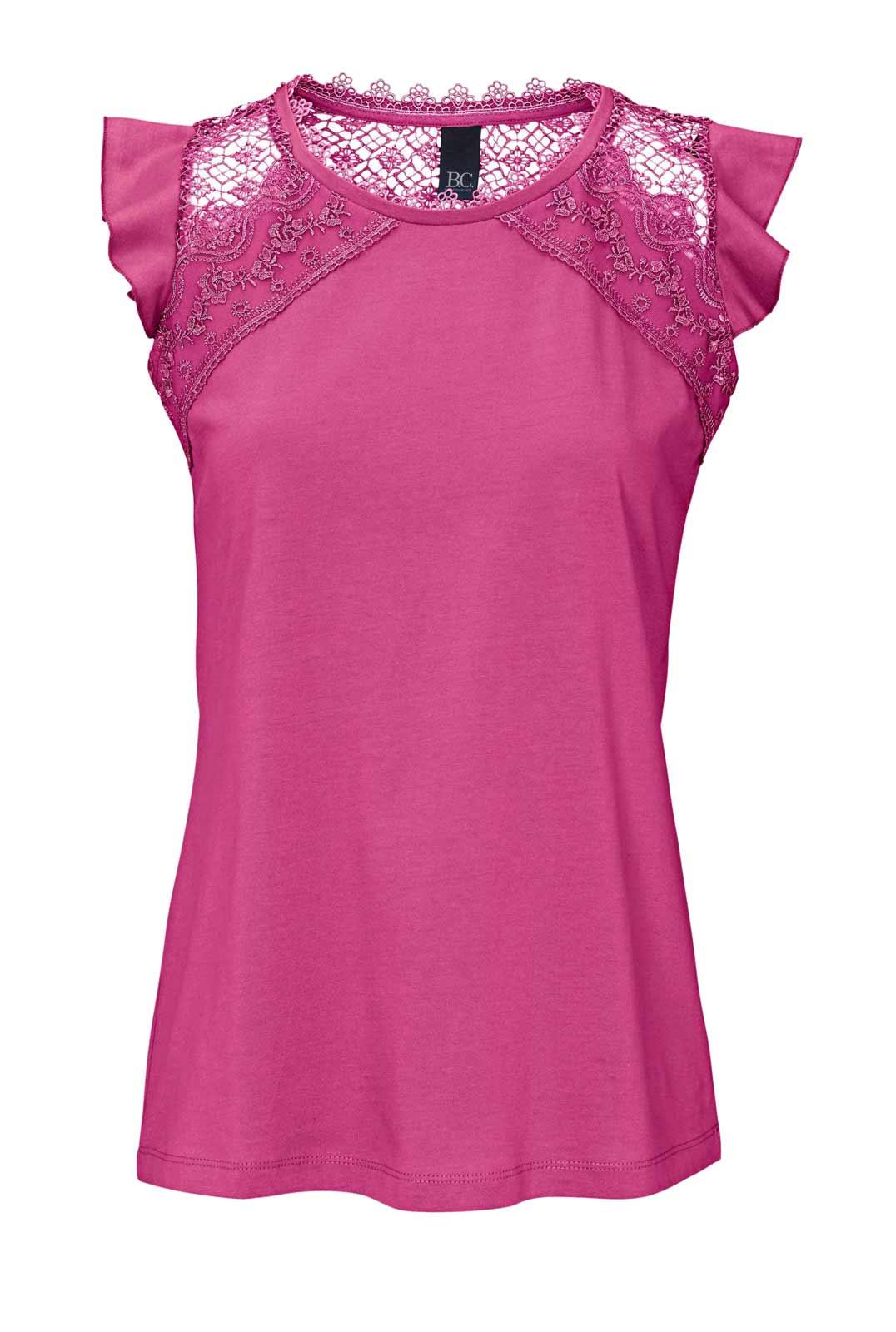 256.815 HEINE Damen Designer-Jerseyshirt m. Häkelspitze Pink