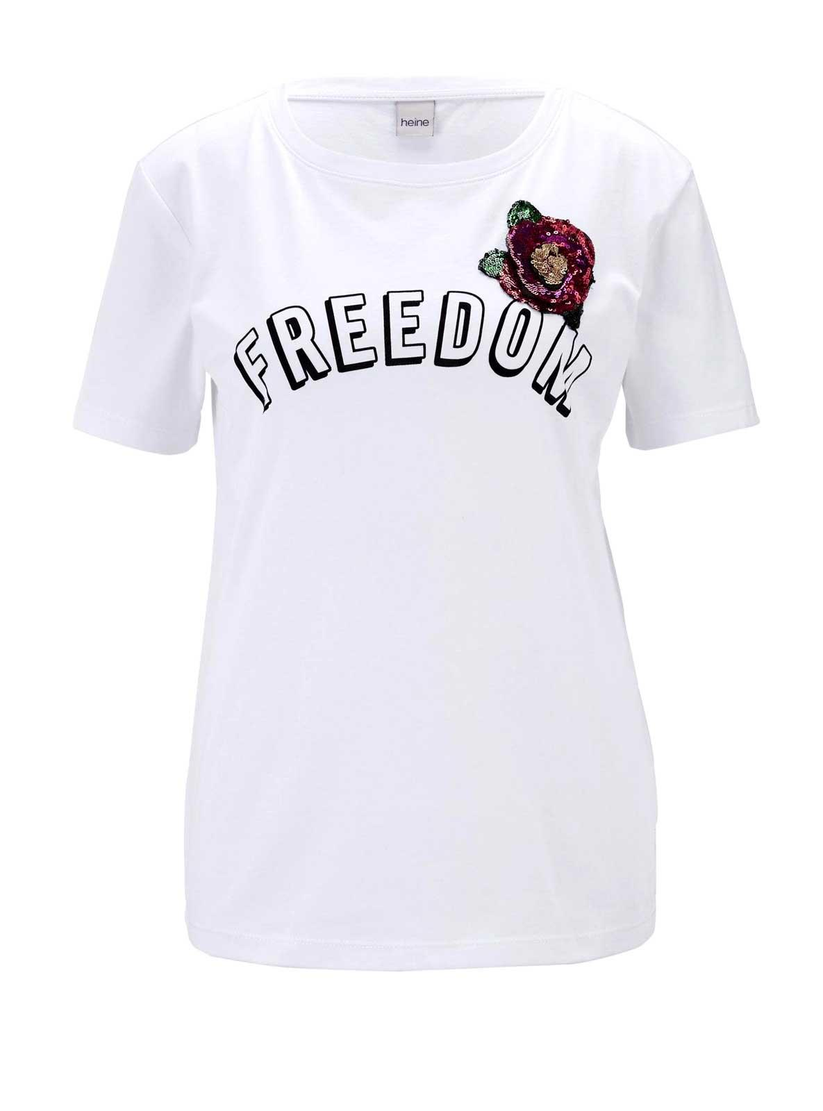 346.853 HEINE Damen Designer-Jerseyshirt m. Pailletten Weiß