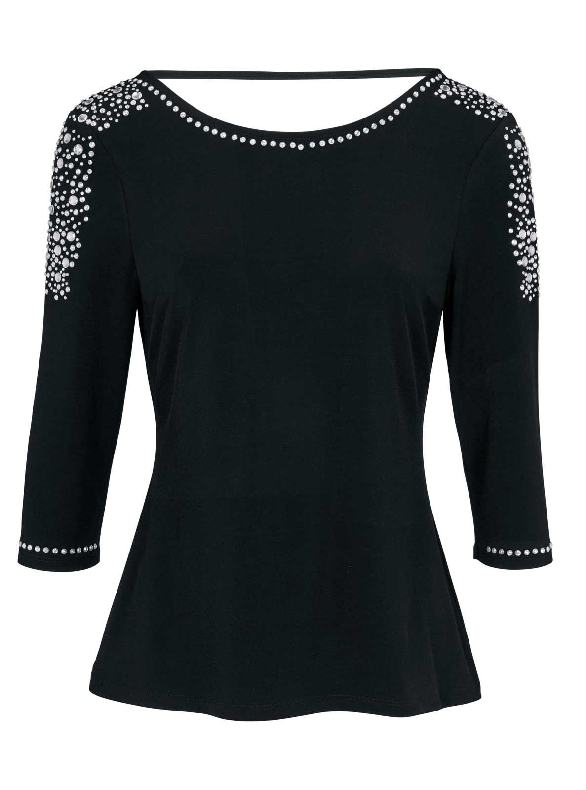 365.215 HEINE Damen Designer-Shirt m. Strass Schwarz