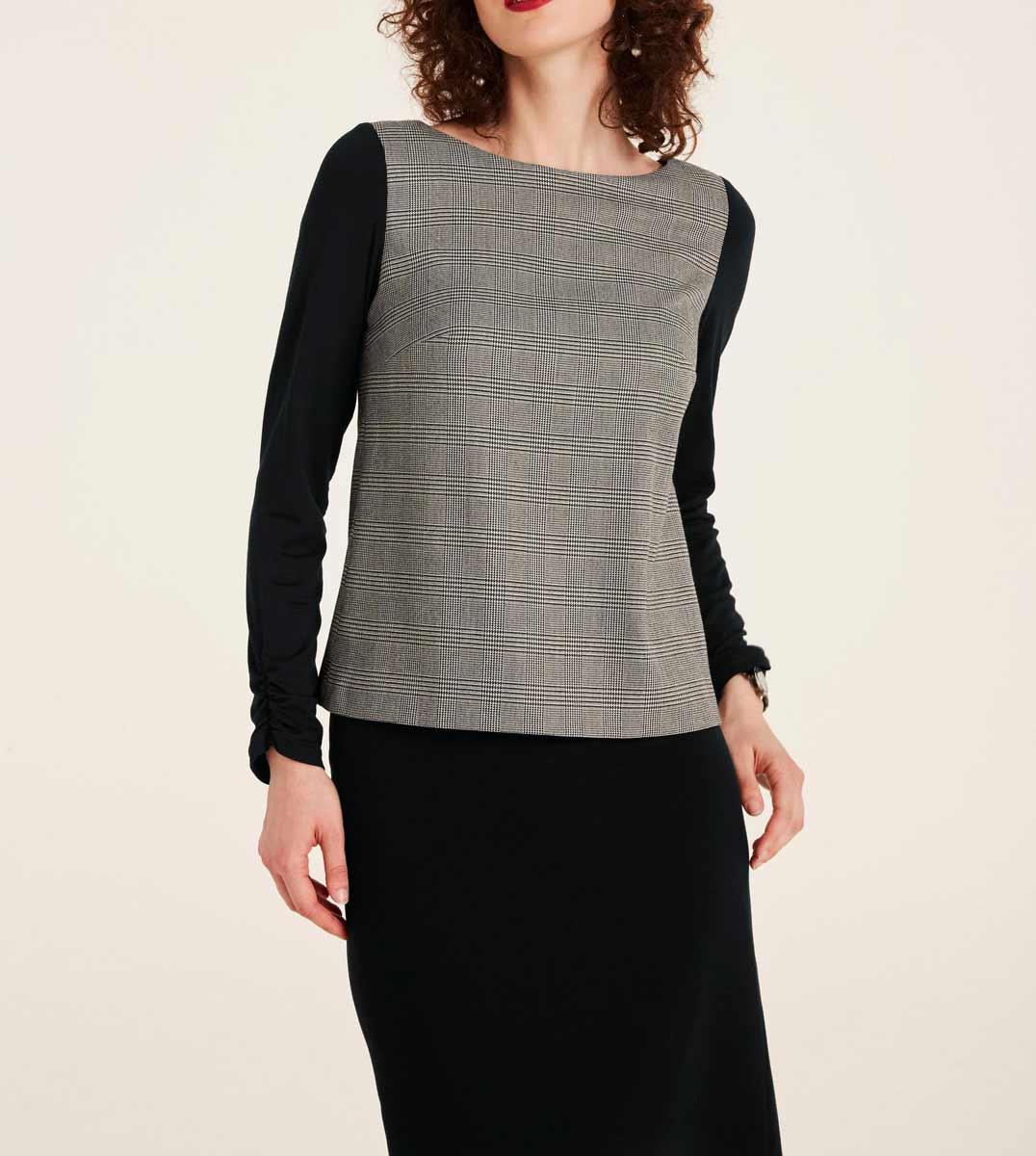 428.680 PATRIZIA DINI Damen Designer-Shirt Schwarz-Offwhite