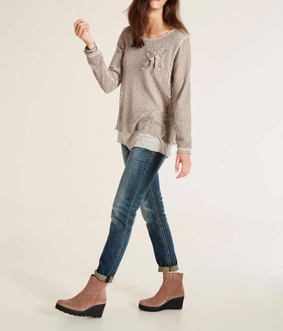 431.298 HEINE Damen Designer-2-in-1-Shirt m. Spitze Taupe