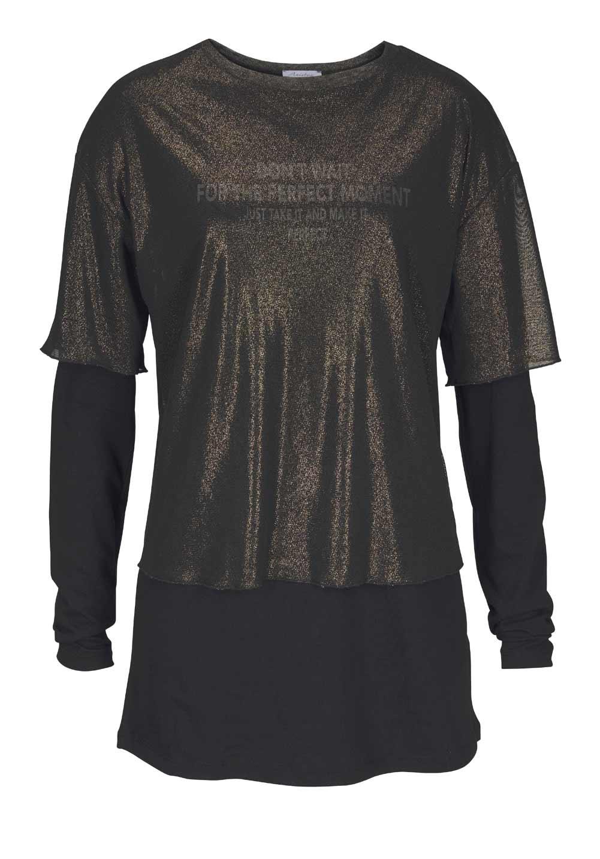 448.904 ANISTON Damen-2-in-1-Longshirt Schwarz-Gold